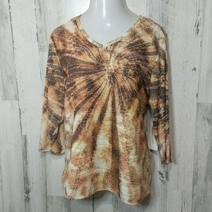 ERIN LONDON NEW Orange Sunburst Textured Top 3X